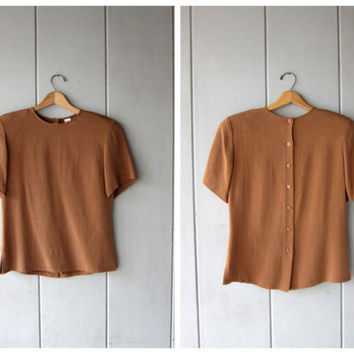 Cocoa Brown Silk Blouse 90s Short Sleeve Tee Basic Minimal Silk Top Plain Silk Shirt with Buttons Up the Back 1990s DES Vintage Womens Small
