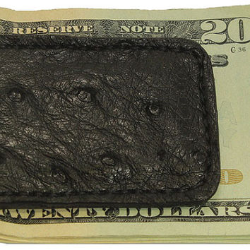 Black Genuine Ostrich Skin Leather Money Clip - Free Shipping to USA