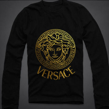 Men Versace Long sleeve t shirt tee t-shirt screen printing on Quality American Brand apparel S-2XL
