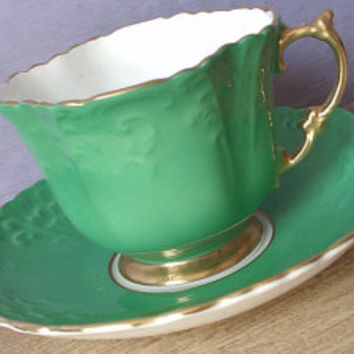 Antique 1930's Aysnley kelly green tea cup set, English tea cup and saucer, green and gold bone china tea set, green and gold gift for irish