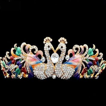 High Quality Enamel 2 Peacock Tiara Austrian Crystals Rhinestone Crown Bridal Wedding Hair Jewelry Accessories
