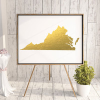 Virginia Map USA Gold Foil Print Art Print Wall Art Poster Wall Decor Art Home Decor Wall Hanging Handmade GOLD FOIL Virgina Map Printable