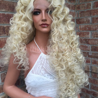 CUSTOM Light Blond Curly Wand Hair SWISS  Lace Front Wig 30 inches