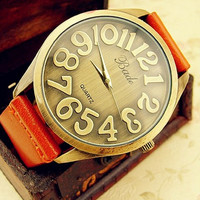 Retro Big Dail Genuine Leather Watch