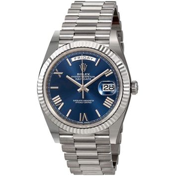 Rolex Day-Date 40 Blue Dial 18K White Gold President Automatic Mens Watch