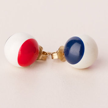 Vintage Red White and Blue Ball Post Earrings