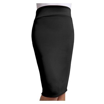 Fitted Solid High Waisted Midi Skirt with Stretch (CLEARANCE) (CLEARANCE)