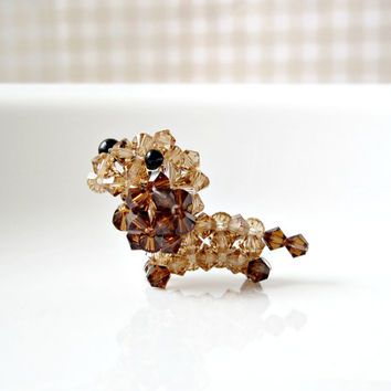 Roo the Miniature Dachshund, Doxie Dog Figurine, Beaded Swarovski Crystals, Brown
