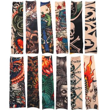 12pcs/Set Fashion Temporary Tattoo Sleeves Outside Hiking Riding Anti Sun Tattoo Sleeves Good Quality Tattoo  FREE SHIPPING