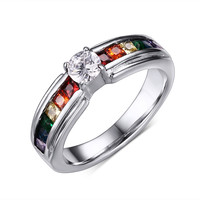 Beautiful Crystal Wedding Rings Rainbow Color Ring With Zircon Austrian Crystal Rainbow Stainless Steel Rings Jewelry