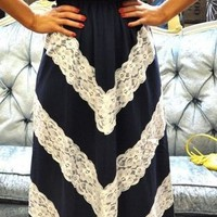 Chevron Lace Maxi Dress - $130