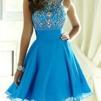 Blue Homecoming Dress, Beading Short Homecoming Dress, A-line Party Dress