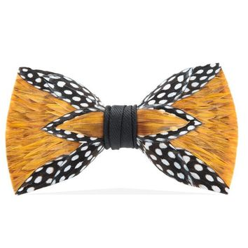 Brackish, Woco Bow Tie, Guinea/Pheasant Feathers