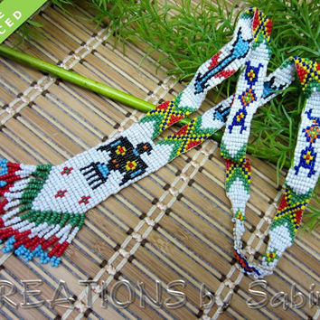 Native American Thunderbird Necklace, Beaded, Beads, Arrows, Fringes, Fringed, Multicolored, Vintage FREE SHIPPING