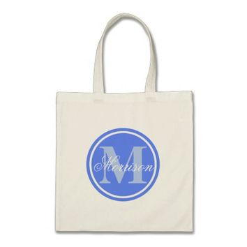 Blue Prestige Monogram Tote Bag