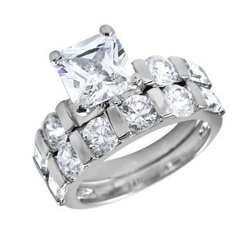 A Flawless 1.6CT Princess Cut Russian Lab Diamond Bridal Set