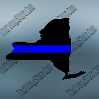 New York Back the Blue Flag Thin Blue Line Vinyl Decal | Yeti Cop Decal | Distressed American Flag | Blue Lives Matter | 434