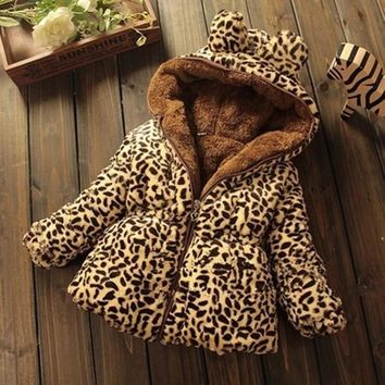 Winter Children Coat Leopard faux fox fur collar coat Jacket Baby Girl Outerwear Hoodies Infant Clothing cashmere Warm Jackets