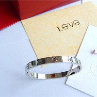 -Cartier Love Bangle Bracelet in 18k White Gold size 18 Screwdriver/BOX'