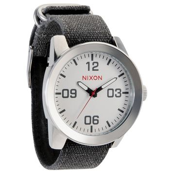Nixon A243100 Men's The Corporal White Dial Black Canvas Strap Watch