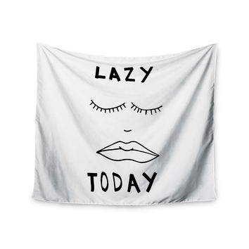 "Vasare Nar ""Lazy Today White"" Typography Wall Tapestry"