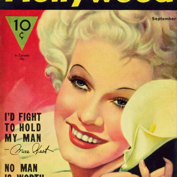 Jean Harlow 11x17 Hollywood Magazine Cover Poster (1930's)