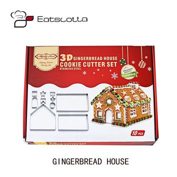 10pcs/set 3D christmas gingerbread house mould stainless steel cookie cutter set DIY biscuit mold pastry cake stamp baking tools