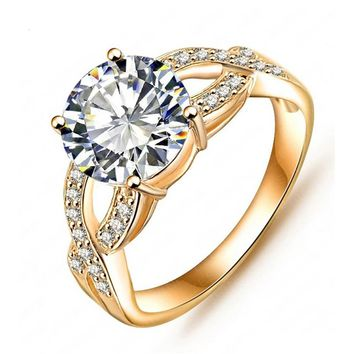 Gold Filled Round 2 Carat Simulated Diamond Engagement Wedding Ring