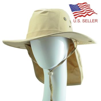 Men Woman Safari Explorer Bucket Fishing Hat With Flap Neck Cover 100% Cotton