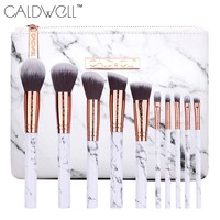 CALDWELL 10Pcs Professional Marble pattern Makeup Brush Set with PU Marble Pattern Bag Cosmetic Beauty Make up Brush Tools