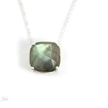 Sterling Silver Cushion Cut Faceted 12mm Labradorite Station Pendant Necklace Satin Finish