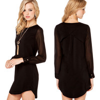 Black Long Sleeves Dovetail Hem Chiffon  Top