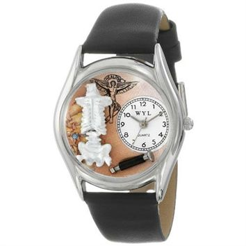 SheilaShrubs.com: Women's Chiropractor Black Leather Watch S-0610009 by Whimsical Watches: Watches