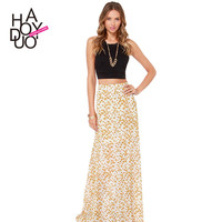 Haoduoyi High waist Daisy print maxi elegant ladies skirt Fashion floral women long skirts