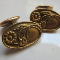Antique Arts and Crafts Cufflinks Cuff Buttons in Gold Fill