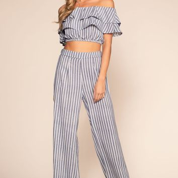 Free Love Striped High Waisted Pants