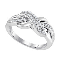 Diamond Fashion Ring in White Gold-plated silver 0.2 ctw