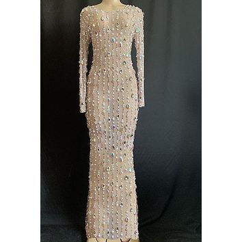 Epic Night Diamante Mesh Maxi Dress(Rhinestones)