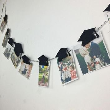 Graduation Mortarboard Hat Photo Banner With Clip Garland Banner Graduation Party Decor Decoration Foto Banner