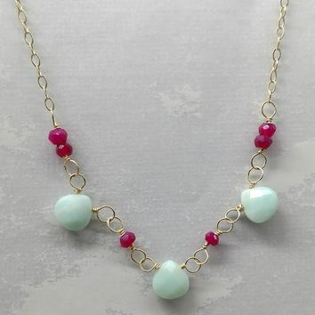 14 K Gold Fill Chain Necklace With Fuchsia Chalcedony Amazonite Drops