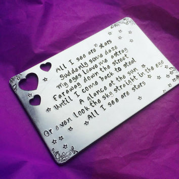 Personalized Wallet Insert - Metal Note Card - Custom Love note - choose your own - Jack and the Cuckoo Clock Heart inspired song ly