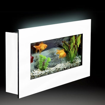"Aussie Aquariums Wall Mounted Aquarium - Mini White - 23.3"" x 13.5"" x 4.5"""