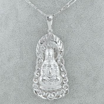 Anniyo Guanyin Buddha Necklace Hinduism Buddhism Pendant Chain Avalokitesvara Jewelry Buddhist Avalokita India Women Men