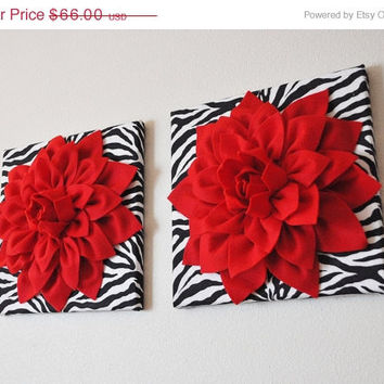 MOTHERS DAY SALE Two Wall Flowers  Red Dahlia Flowers On Black And White  Zebra Print