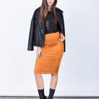 Soft Suede Pencil Skirt