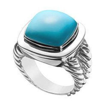 Turquoise Rope Ring : 14K White Gold - 10.00 CT TGW