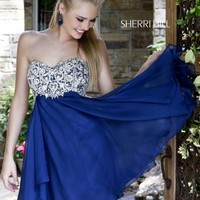 Navy Sherri Hill 3879 Short Sweetheart Cocktail Dress [3879] - $210.00 : 2015 Dress Gown Store|DressGownStore.com