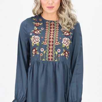 Fall Florals Embroidery Tunic L/S Blouse {Charcoal}