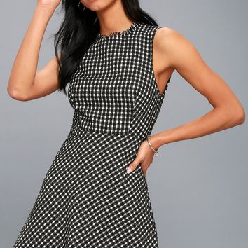 Check Me Out Black and White Checkered Boucle Dress
