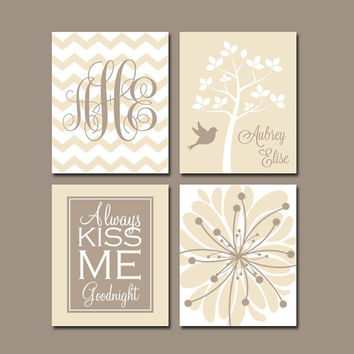 GIRL Nursery Wall Art CANVAS or Prints Beige Tan Baby Girl Nursery Wall Art Monogram Flower Tree Bird Bedroom Kiss Me Goodnight Set of 4